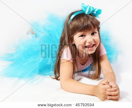 Laughing Little Girl Laying