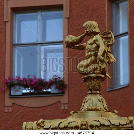 The Small Triton Statue At Saint Peterburg Street