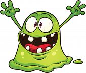 Cartoon green blob monster. Vector clip art illustration with simple gradients. All in a single laye