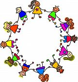 happy and diverse kids holding hands in friendship and unity  - toddler art series poster