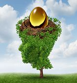 Managing your nest egg as a financial concept with a growing green tree in the shape of a human head supporting a nested investment for future retirement fund as a 401 K plan. poster