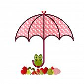 umbrella with own and group of different hearts below poster