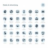 Set of vector icons for media and advertising poster