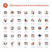 Set of vector icons for SEO and Marketing poster