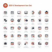 Set of vector icons for SEO and Development poster