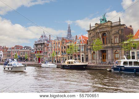 Spaarne river and embankment of Haarlem