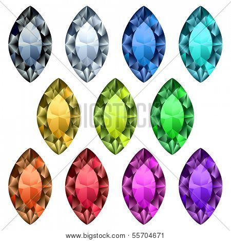 Marquise-cut colorful gemstones collection - raster version