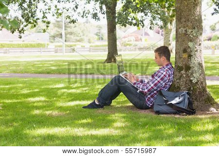 Young student using laptop outside on college campus