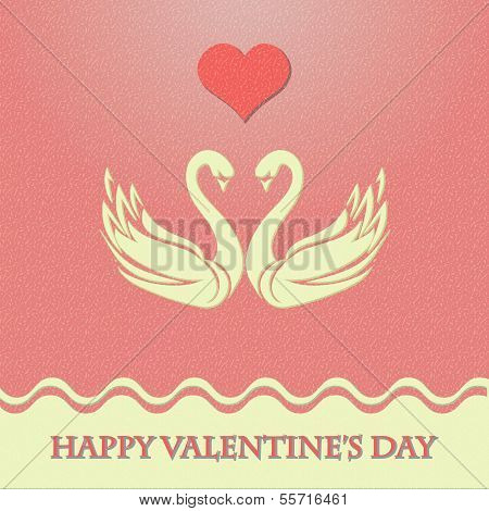 Valentine card with heart and swans