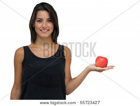 Brunette holding apple