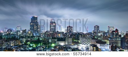 Sendai, Japan cityscape at night