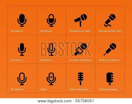 Microphone icons on orange background.