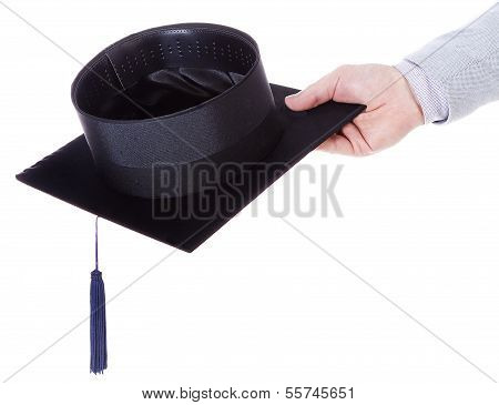 mortarboard academic graduation cap in the hand poster