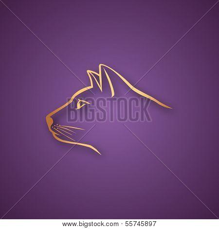 Golden cat over purple