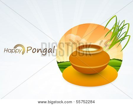 Happy Pongal, harvest festival celebration in South India with pongal rice in a traditional mud pot and sugarcane on nature background.  poster
