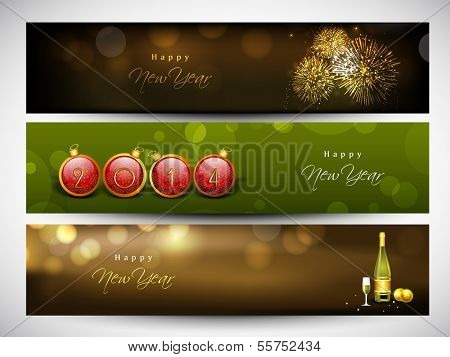 Website header or banner set design for Happy New Year 2014 celebration with fireworks, champagne and Xmas balls.  poster