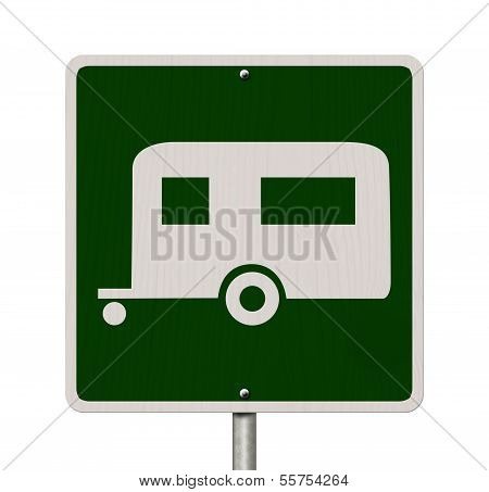 An American road sign isolated on white with a symbol of a camper Going camping poster