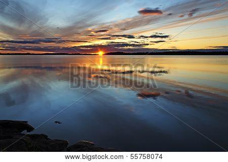 Magic Colors Of The Sunset. Lake Pongomozero, North Karelia, Russia