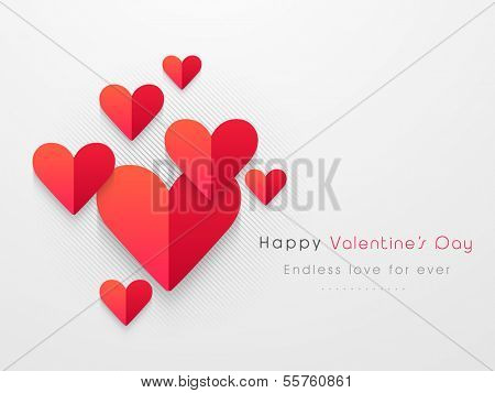Happy Valentines Day concept with red fold paper hearts on grey background.