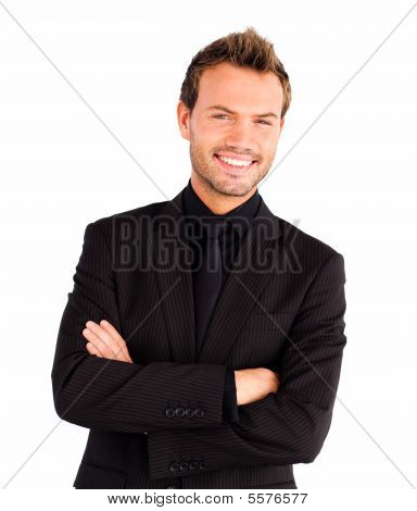 Happy Businessman With Crossed Arms