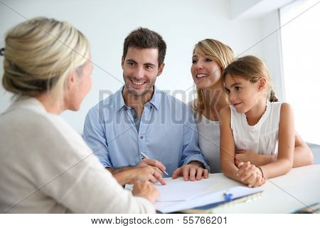 Family meeting real-estate agent for house investment poster