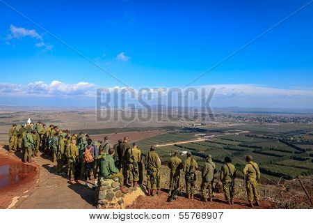 MOUNT BENTAL - NOVEMBER 13: Israeli paratroopers are studying their positions along Israeli-Syria border from the Mount Bental, Israel, November 13, 2012