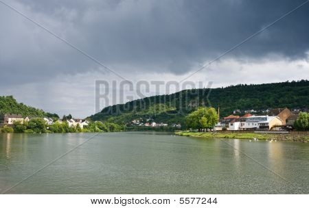 View On River Moezel Or Mosel After Rainfall