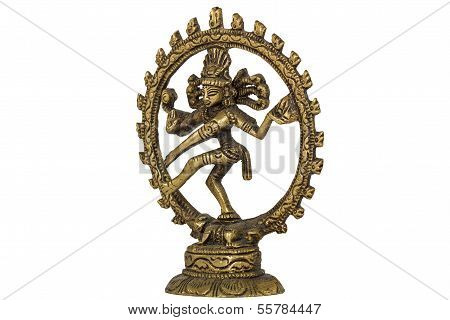 Figurine of Lord Shiva Nataraja dancing, isolated on white background
