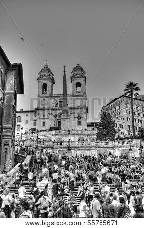 Rome - September 20: People Sitting On The Spanish Steps On September 20, In Rome, Italy.