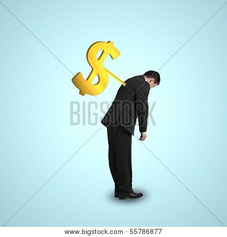 Businessman With Money Symbol Winder On His Back