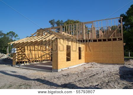 JACKSONVILLE, FL-SEP 1: A new home under construction on September 1, 2013 in Jacksonville, Florida. New home sales fell 6 percent in September to a 354,000 annual rate, the weakest since April 2012.