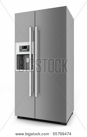 Silver Fridge With Side-by-side Door System Isolated On White Background.