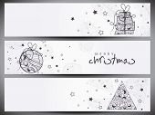 Website header or banner set design for Happy New Year 2014 celebration with floral decorated gift box, xmas ball and xmas tree on grey background.  poster