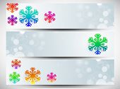Website header or banner set design for Happy New Year 2014 celebration with colorful snowflakes on shiny blue background.  poster