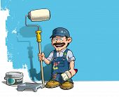Cartoon illustration of a handyman - Painter standing by a paint bucket & a paint tray holding a paint roller in front of a half-painted wall. poster