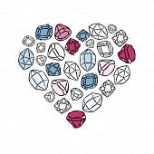 heart shaped colorful beautiful shining crystals diamonds precious stones beauty fashion illustration isolated elements on white background poster