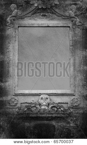 Human Skulls And Angels Grunge Dark Background