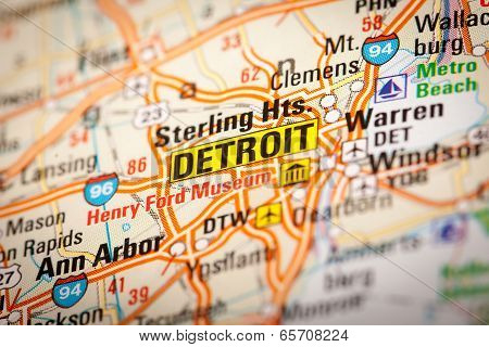 Detroit On A Road Map