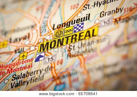 Montreal City On A Road Map