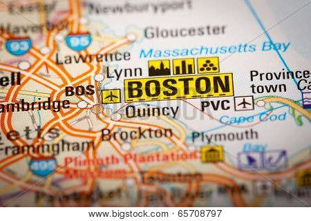 Boston City On A Road Map