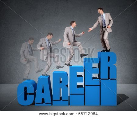 Climbing the corporate ladder of success in career concept for job self help, growth and opportunity poster