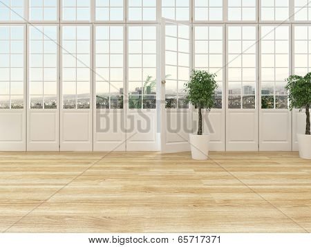 Living room interior with a panoramic view window with cottage pane glass and a door opening onto a balcony with wooden parquet floor and two ornamental topiary houseplants