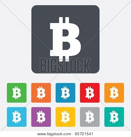 Bitcoin sign icon. Cryptography currency symbol. P2P. Rounded squares 11 buttons. Vector poster
