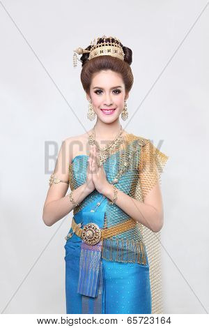 beautiful asian with welcome expression