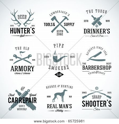 Set Of Vintage Labels With Retro Typography For Men's Hobbies Such As Hunting Arms Dog Breeding Car