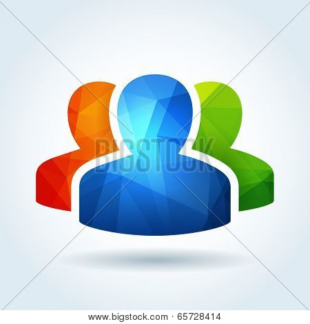 User profile icon with triangle abstract pattern