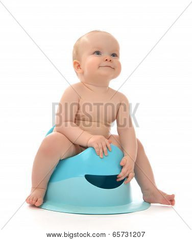 Infant Child Baby Boy Toddler Sitting On Toilet Stool Pot