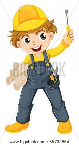 Illustration of a young mechanic on a white background