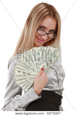 Girl With Fan Of Dollars