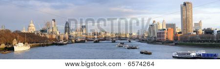 Panoramac View Of River Thames Skyline In Winter, London, England, Uk